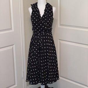 Ralph Lauren Black and White Polka Dot Wrap Dress